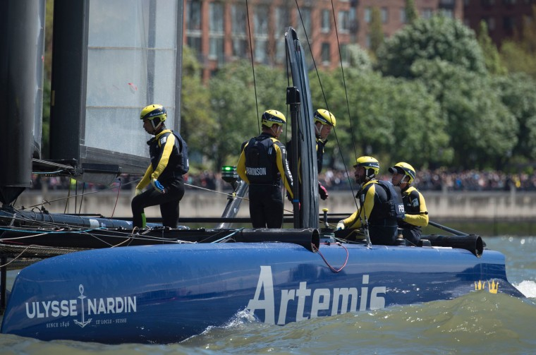 Artemis Racing crew relaxes aboard after winning the first race of the Louis Vuitton America's Cup World Series New York May 8, 2016 in New York. (Don Emmert/AFP/Getty Images)