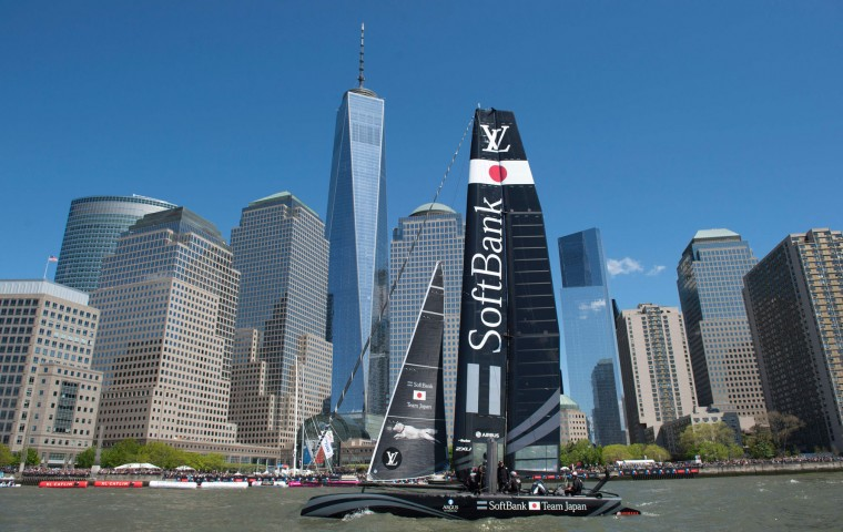 SoftBank Team Japan races during the Louis Vuitton America's Cup World Series New York May 8, 2016 in New York. (Don Emmert/AFP/Getty Images)