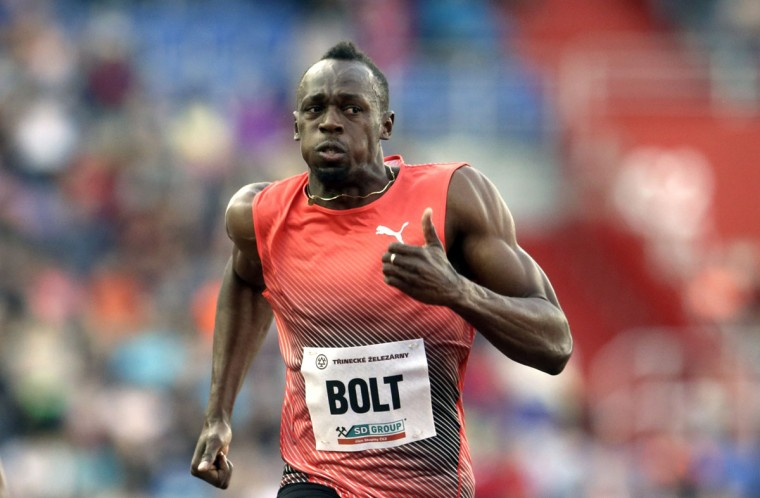 Jamaica's sprinter Usain Bolt competes during the men's 100 meters event at the Golden Spike athletic meeting in Ostrava, Czech Republic, Friday, May 20, 2016. (AP Photo/Petr David Josek)