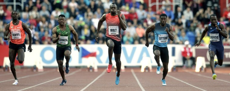 Jamaica's sprinter Usain Bolt, center, competes during the men's 100 meters event at the Golden Spike athletic meeting in Ostrava, Czech Republic, Friday, May 20, 2016. (AP Photo/Petr David Josek)