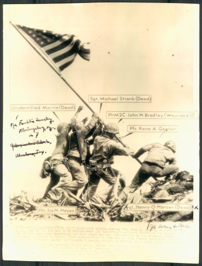 April 10, 1945 illustration showing the presumed identities of the flag-raisers, including John H. Bradley, father of the author James Bradley, who this week said he is unsure whether his father is actually in the iconic photo.