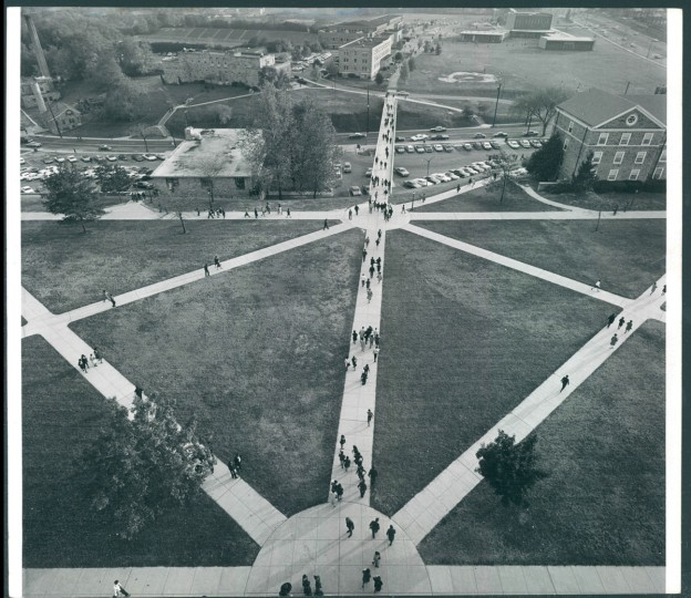 The Morgan campus, viewed from Holmes Hall, 1961.