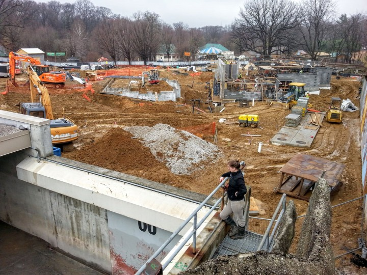 Construction of a penguin exhibit at the Maryland Zoo. (Brian O'Doherty)