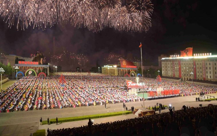 This picture taken on May 10, 2016 and released from North Korea's official Korean Central News Agency (KCNA) on May 11, 2016 shows general view of a festivities marking the end of the 7th Workers Party Congress in Kim Il-Sung square in Pyongyang. (KCNA / KNSKNS/AFP/Getty Images)