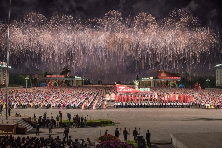A picture taken on May 10, 2016 shows a general view of festivities marking the end of the 7th Workers Party Congress in Kim Il-Sung square in Pyongyang. (ED JONES/AFP/Getty Images)