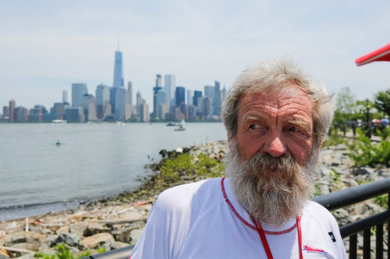 "Polish kayaker Aleksander Doba looks on before the beginning of his transatlantic kayak adventure from New York to Lisbon on May 29, 2016 in New York. Doba says this will be his toughest challenge yet, but that he feels like a young man and ""will not pretend to be old."" (EDUARDO MUNOZ ALVAREZ/AFP/Getty Images)"