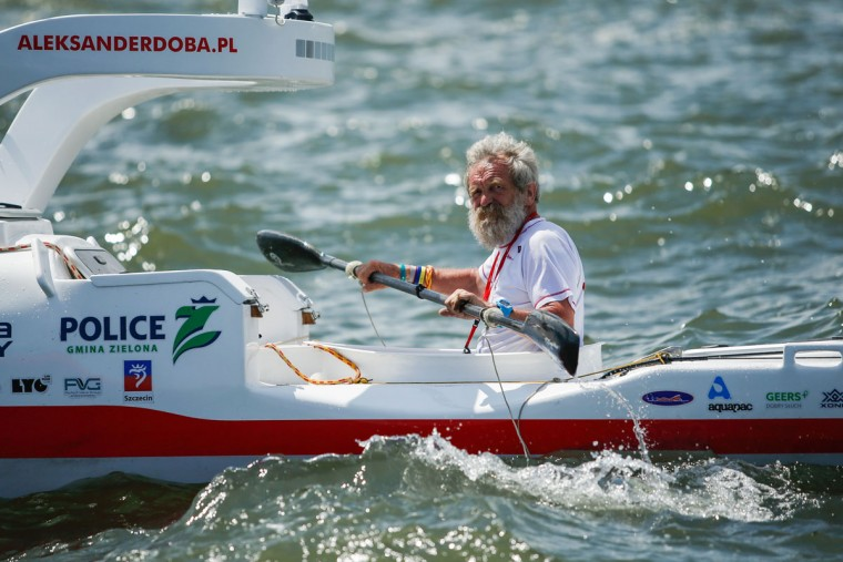 "Polish kayaker Aleksander Doba sails during the start of his translatlantic kayak adventure from New York to Lisbon on May 29, 2016 in New York. Doba says this will be his toughest challenge yet, but that he feels like a young man and ""will not pretend to be old."" (EDUARDO MUNOZ ALVAREZ/AFP/Getty Images)"