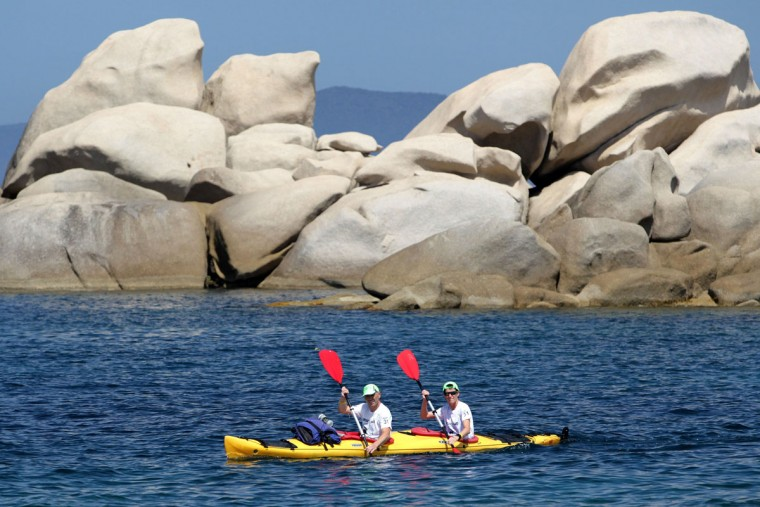 Racers ride kayaks during the 20th Corsica Raid race in Porticcio along the Gulf of Ajaccio on June 8, 2016 on the French island of Corsica. (PASCAL POCHARD-CASABIANCA/AFP/Getty Images)