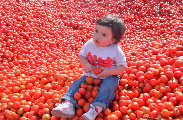 """A little girl participates in the 10th annual tomato fight festival, known as """"tomatina"""", in Sutamarchan, Boyaca department, Colombia, on June 5, 2016. (GUILLERMO LEGARIA/AFP/Getty Images)"""