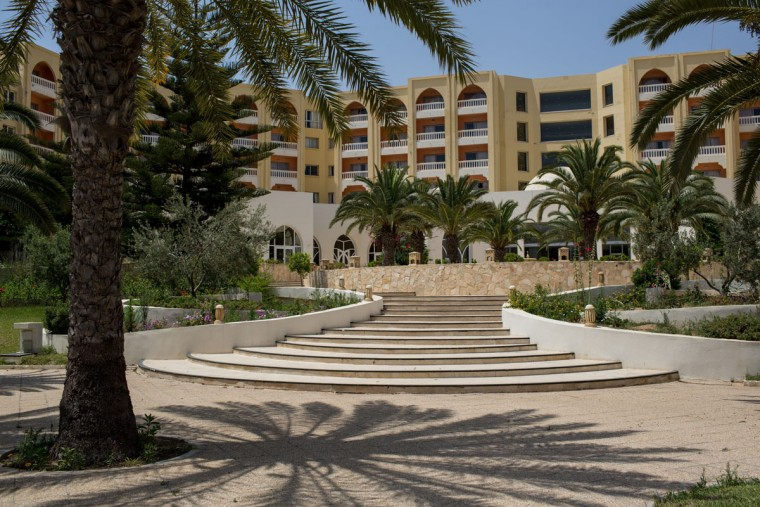 A general view of the closed Imperial Marhaba Hotel on June 24, 2016 in Sousse, Tunisia. The Imperial Marhaba hotel was the main target of the 2015 Sousse beach terrorist attack that killed 38 people including 30 Britons. The hotel attempted to stay open for three months after the attacks, however low occupancy forced the hotel to close. Since then it has operated with a skeleton staff, who work to maintain the rooms and grounds, other permanent hotel staff were able to be placed in temporary jobs at two other hotels owned by the same chain. The hotel hopes to open again by next spring or as soon as British travel advisories and restrictions are lifted for Tunisia. Before the 2011 revolution, tourism in Tunisia accounted for approximately 7% of the countries GDP. The two 2015 terrorist attacks at the Bardo Museum and Sousse Beach saw tourism numbers plummet even further forcing hotels to close and many tourism and hospitality workers to lose their jobs. The 26th of June 2016 marks the anniversary of the Sousse beach attacks. (Photo by Chris McGrath/Getty Images)