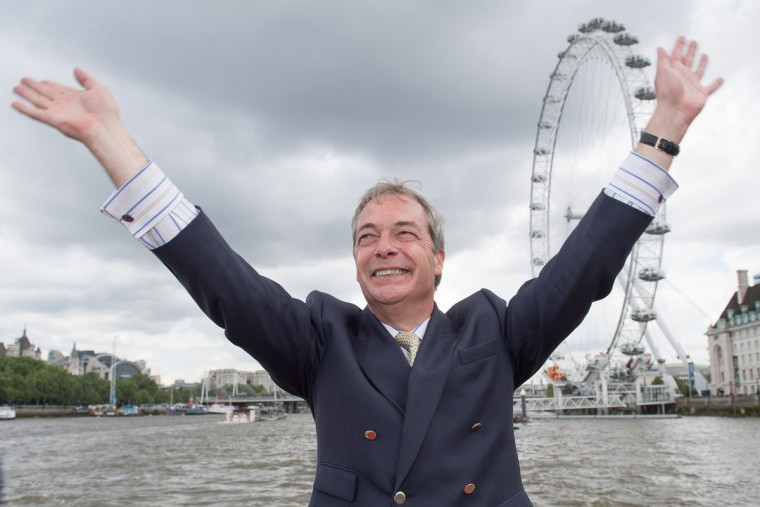 LONDON, ENGLAND - JUNE 15: Nigel Farage, leader of the UK Independence Party shows his support for the 'Leave' campaign for the upcoming EU Referendum aboard a boat on the River Thames on June 15, 2016 in London, England. Nigel Farage, leader of UKIP, is campaigning for the United Kingdom to leave the European Union in a referendum being held on June 23, 2016. (Photo by Jeff Spicer/Getty Images)