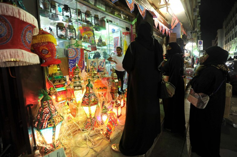 "Saudi women shop for traditional lanterns known in Arabic as ""Fanous"", sold during the Muslim holy month of Ramadan, at a market in the city of Jeddah on June 3, 2016, as the faithful prepare for the start of the fasting month. More than 1.5 billion Muslims around the world will start to celebrate Ramadan the first week of June, during which observant Muslims fast from dusk to dawn. / (AFP Photo/Stringerstringer/afp/getty Images )"