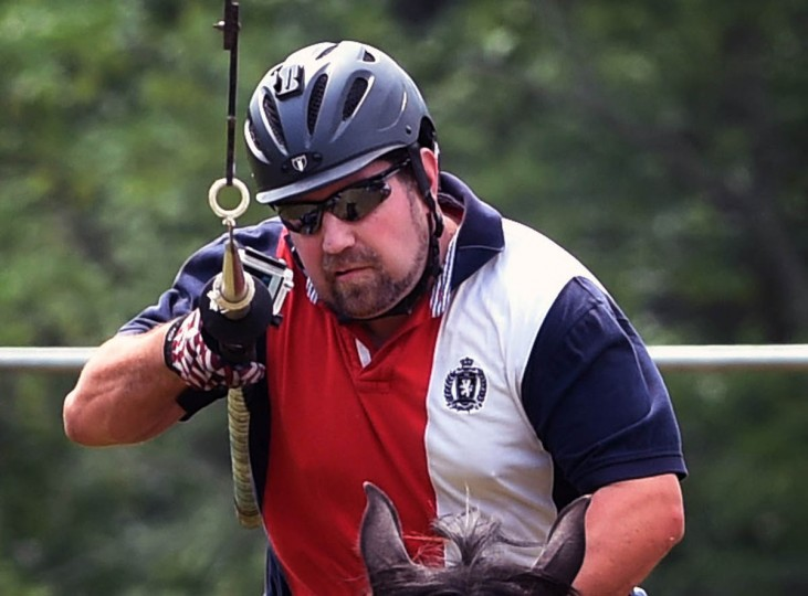 Dandall McGill, president of Amateur Jousting Club of Maryland (AJC), gets ready to lance the third ring during AJC's 2016 Founders' Day Joust at the historic Jerusalem Mill Village. Traditional ring joust is a test of skill and horsemanship where riders pass through a series of arches, attempting to spear three dangling rings. Ring diameters range from one and three quarter inches for novices to one inch for professional jousters. Ring sizes go down to as small as a quarter inch to break ties in order to declare a winner.(Kenneth K. Lam, Baltimore Sun)