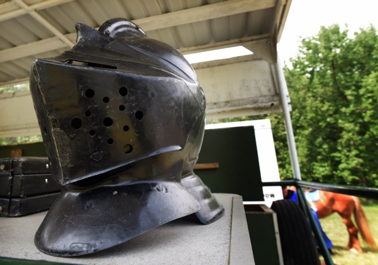 A replica vinyl knight's helmet is pictured at Amateur Jousting Club of Maryland's 2016 Founder's Day Joust at the historic Jerusalem Mill Village. (Kenneth K. Lam, Baltimore Sun)