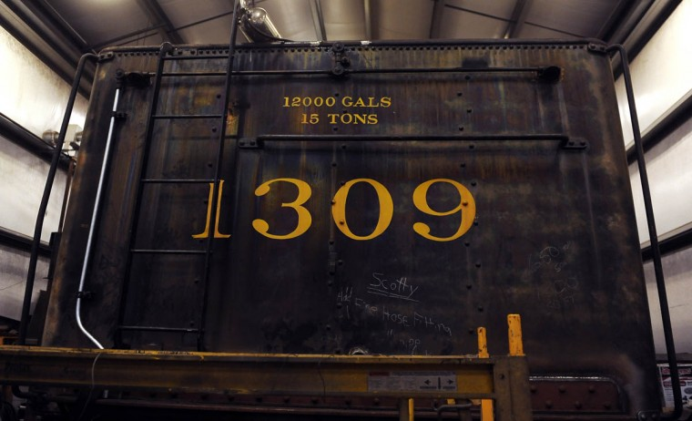 Protected from the elements under a shed roof, this is the rear end of the 1309 steam locomotive's tender. At the Western Maryland Scenic Railroad yard, restoration work is being done on the Chesapeake and Ohio Railroad No. 1309 steam locomotive. When the restoration is complete, probably next year, the locomotive will pull passenger cars on the scenic railroad's 16 mile roundtrip between Cumberland and Frostburg. (Barbara Haddock Taylor, Baltimore Sun)