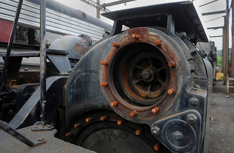 This is the front engine left hand piston valve. It directs steam into and out of the left front cylinder of the No. 1309 steam locomotive. At the Western Maryland Scenic Railroad yard, restoration work is done on the Chesapeake and Ohio Railroad No. 1309 steam locomotive. When the restoration is complete, probably next year, the locomotive will pull passenger cars on the scenic railroad between Cumberland and Frostburg. (Barbara Haddock Taylor, Baltimore Sun)