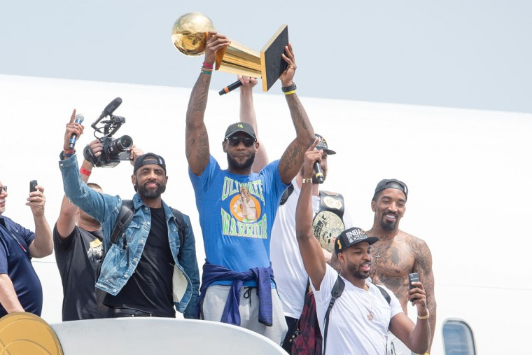 Kyrie Irving, LeBron James, Tristan Thompson, Kevin Love and J.R. Smith of the Cleveland Cavaliers return to Cleveland after winning the NBA Championship on June 20, 2016 in Cleveland, Ohio. (Photo by Jason Miller/Getty Images)