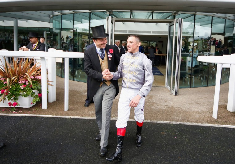 Clerk of the course Chris Stickels and Frankie Dettori after winning The St Jame's Palace Stakes during day 1 of Royal Ascot at Ascot Racecourse on June 14, 2016 in Ascot, England. (Photo by Alan Crowhurst/Getty Images for Ascot Racecourse)