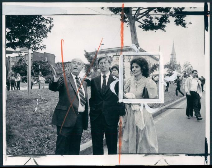 Mayor William Donald Schaefer, left, and Artscape organizer Jody Alright escort columnist George Will, special festival guest, on a VIP tour. June 11, 1982. (Childress/Baltimore Sun)