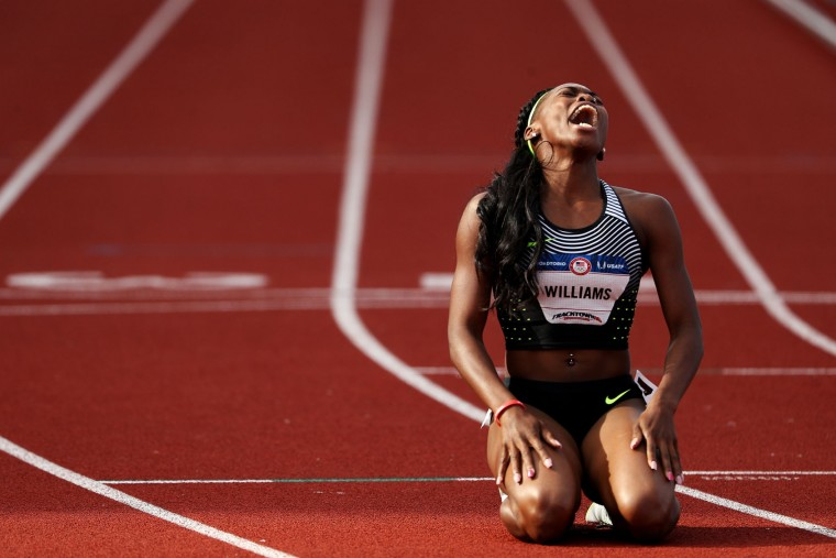 Chrishuna Williams, third place, reacts after the Women's 800 Meter Final during the 2016 U.S. Olympic Track & Field Team Trials at Hayward Field on July 4, 2016 in Eugene, Oregon. (Photo by Patrick Smith/Getty Images)