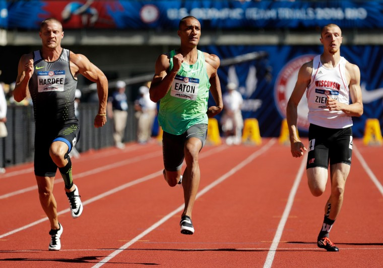 Trey Hardee, Ashton Eaton and Zach Ziemek run in the Men's 100m Decathalon during the 2016 U.S. Olympic Track & Field Team Trials at Hayward Field on July 2, 2016 in Eugene, Oregon. (Photo by Andy Lyons/Getty Images)
