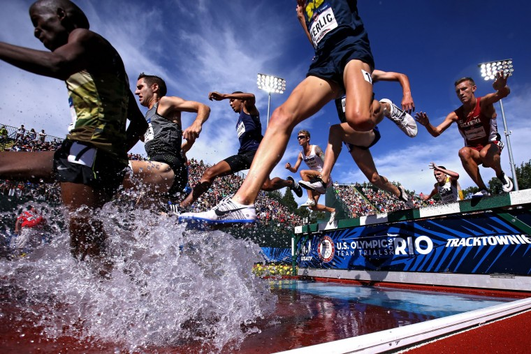 A general view in the Men's 3000 Meter Steeplechase during the 2016 U.S. Olympic Track & Field Team Trials at Hayward Field on July 4, 2016 in Eugene, Oregon. (Photo by Patrick Smith/Getty Images)