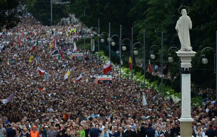 Pilgrims attend a Mass by Pope Francis at the Jasna Gora Monastery in Czestochowa, Poland, on July 28, 2016. (FILIPPO MONTEFORTE/AFP/Getty Images )