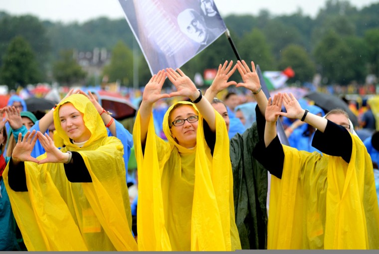 Nuns wait for the arrival of Pope Francis to Blonia Park in Krakow on July 28, 2016, for the welcoming ceremony of the World Youth Days. (BARTOSZ SIEDLIK/AFP/Getty Images)