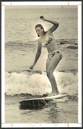 """""""Now the girls have discovered surfing,"""" The Sun reported in 1967. (Photo by William L. Klender/Baltimore Sun)"""