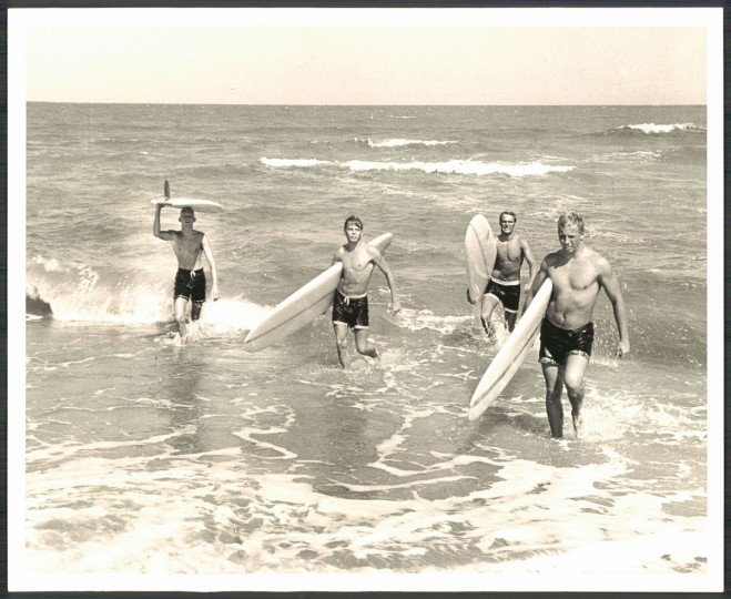 Jeff Muniford of Ocean City, Henry Ludwig of Bethesda, MD, Ted Purnell of McLean, VA, and Ron Croc of San Francisco, CA in Ocean City, MD. September 15, 1964. (Cook/Baltimore Sun)