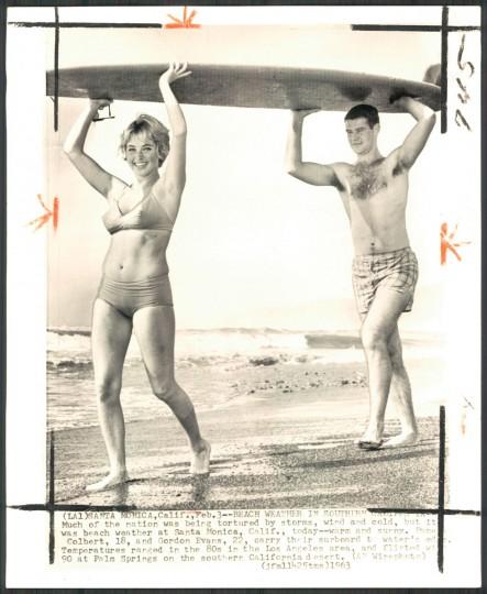 Surfers in Santa Monica, California, 1963. (AP Photo)