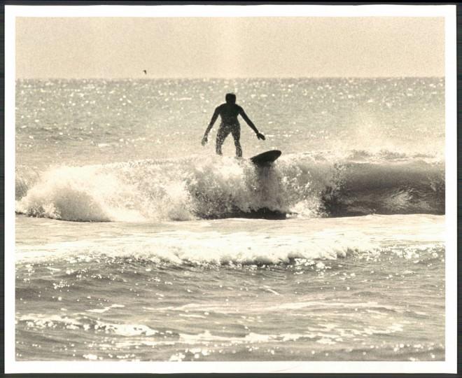 Surf board rider, Ocean City. September 15, 1964. (Cook/Baltimore Sun)