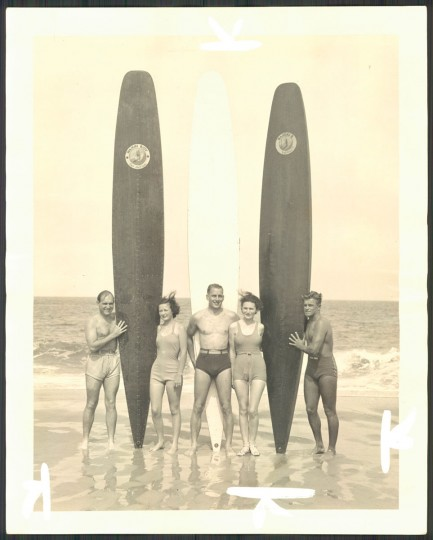 """""""Surfboard experts."""" Photo dated June 14, 1936."""