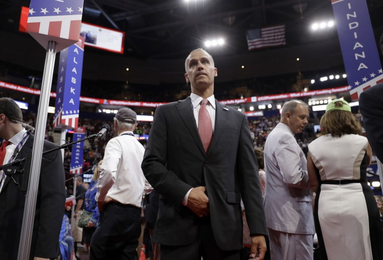 Corey Lewandowski arrives to the floor of Quicken Loans Arena during first day of the Republican National Convention in Cleveland, Monday, July 18, 2016. (AP Photo/Matt Rourke)