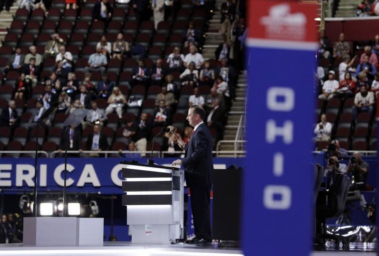 Reince Priebus, Chairman of the Republican National Committee, gavels the convention to order on the opening day of the Republican National Convention in Cleveland, Monday, July 18, 2016. (AP Photo/John Locher)