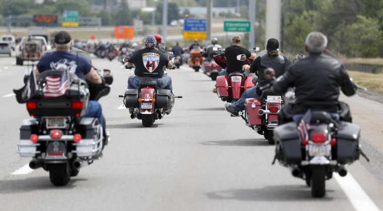 Members of the group Bikers for Trump ride to a rally for Republican presidential candidate Donald Trump at Settlers Landing Park on Monday, July 18, 2016, in Cleveland. The Republican National Convention that starts today. (AP Photo/John Minchillo)