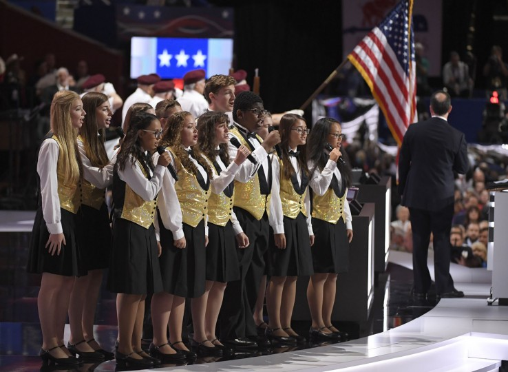 The Singing Angels of Cleveland perform the National Anthem during the opening day of the Republican National Convention in Cleveland, Monday, July 18, 2016. (AP Photo/Mark J. Terrill)