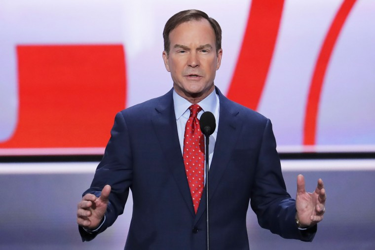 Michigan Attorney General Bill Schuette addresses the delegates during the opening day of the Republican National Convention in Cleveland, Monday, July 18, 2016. (AP Photo/J. Scott Applewhite)
