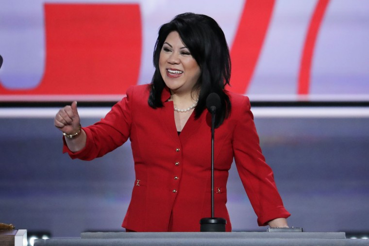 Arizona State Senator Kimberly Yee addresses the opening day of the Republican National Convention in Cleveland, Monday, July 18, 2016. (AP Photo/J. Scott Applewhite)