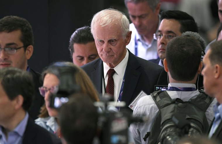 Former New Hampshire Senator Gordon Humphrey attends the opening day of the Republican National Convention in Cleveland, Monday, July 18, 2016. (AP Photo/Mark J. Terrill)