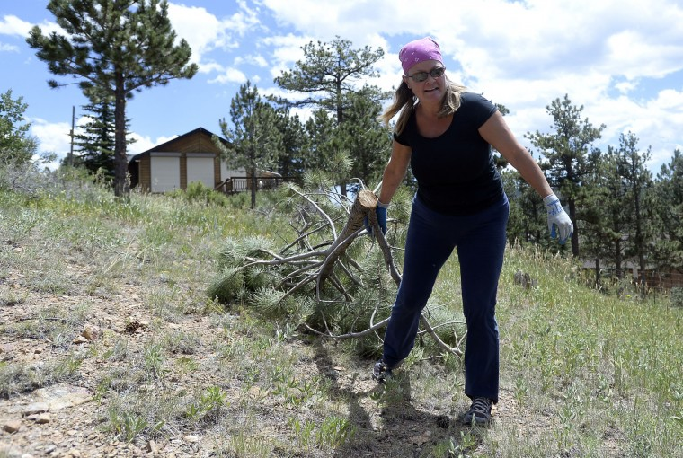 Toni Blankenship works to mitigate fire hazards from her home on the Peak to Peak highway near Ridge Road while crews battle the Cold Springs Wildfire on Monday, July 11, 2016, near Nederland, Colo. (Jeremy Papasso/Daily Camera via AP)