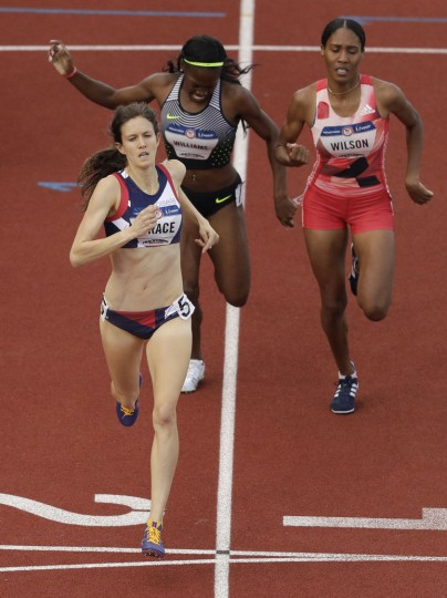 Kate Grace wins the during the women's 800-meter final at the U.S. Olympic Track and Field Trials, Monday, July 4, 2016, in Eugene Ore. (AP Photo/Charlie Riedel)
