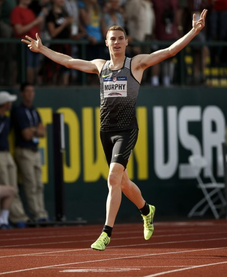 Clayton Murphy reacts after winning the men's 800-meter final at the U.S. Olympic Track and Field Trials, Monday, July 4, 2016, in Eugene Ore. (AP Photo/Matt Slocum)