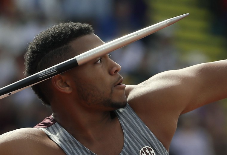 Curtis Thompson competes during the javelin throw final at the U.S. Olympic Track and Field Trials, Monday, July 4, 2016, in Eugene Ore. (AP Photo/Matt Slocum)