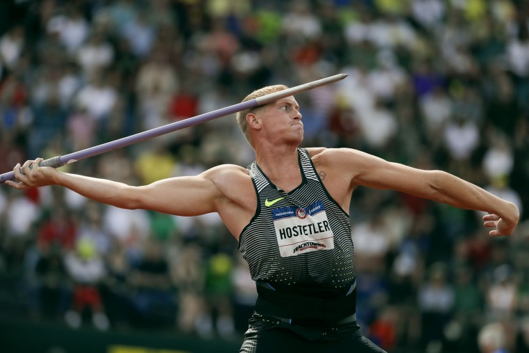Cyrus Hostetler competes during the javelin throw final at the U.S. Olympic Track and Field Trials, Monday, July 4, 2016, in Eugene Ore. (AP Photo/Matt Slocum)