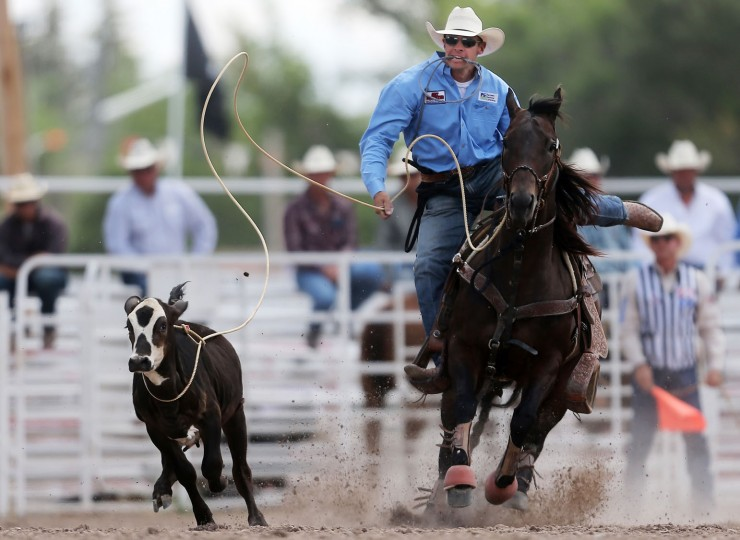 Jaycee Johnson, of Hempstead, Texas, ropes his calf in the tie-down roping event during the first day of the Cheyenne Frontier Days Rodeo, Saturday, July 23, 2016, at Frontier Park Arena in Cheyenne, Wyo. (Blaine McCartney/Wyoming Tribune Eagle via AP)