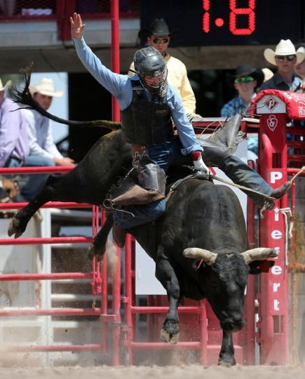 Walker Greynolds of Bakersfield, Calif., competes in the bull riding event during the fifth day of the 120th annual Cheyenne Frontier Days Rodeo Wednesday afternoon, July 27, 2016, at Frontier Park Arena in Cheyenne, Wyo. (Blaine McCartney/Wyoming Tribune Eagle via AP)