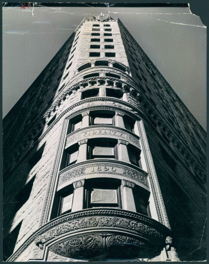 """January 31, 1964 - THIS IS BALTIMORE -- """"The Fidelity Building"""", by Robert F. Kniesche, photographic director of the Sunpapers. The ornate stone carving shown in this picture is a definite link with the past which may never appear in modern office buildings. This picture is one of a series of photographic scenes of Baltimore to be featured on this page on Thursdays. Photo by Robert F. Kniesche"""