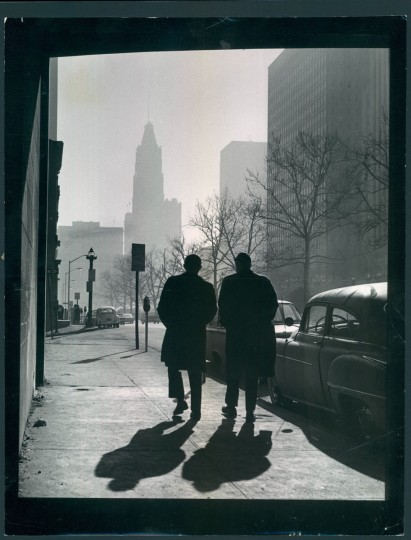 """March 14, 1963 - THIS IS BALTIMORE -- """"St. Paul Place South"""" is the title of this picture. This, picture depicts the Baltimore skyline yesterday looking south from under the Bath Street viaduct. Photo by Robert F. Kniesche"""