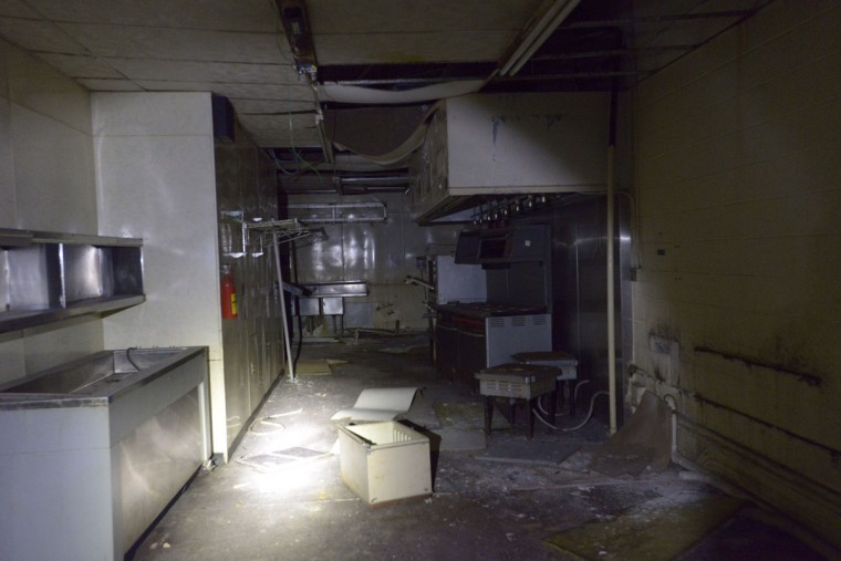 The abandoned Tubbs night club is seen adjacent to the vaults at Lexington Market -- like something out of a low-budget version of The Shining. One half expects a ghost to appear at any moment. (Christina Tkacik/Baltimore Sun)